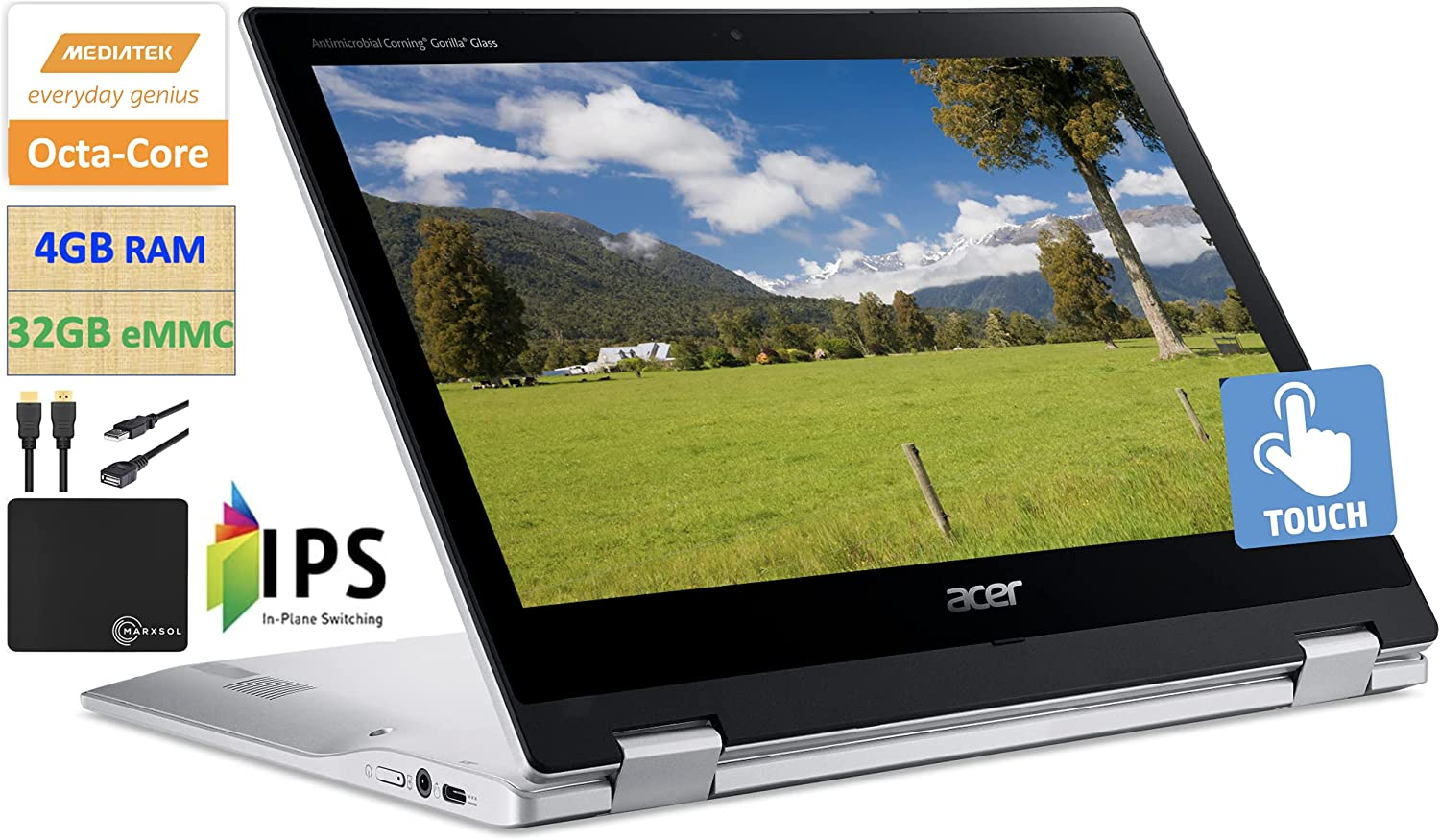 2021 Newest Acer X360 Chromebook Spin 2-in-1 Convertible Laptop Student Business, MediaTek MT8183C 8-Core Processor,11.6