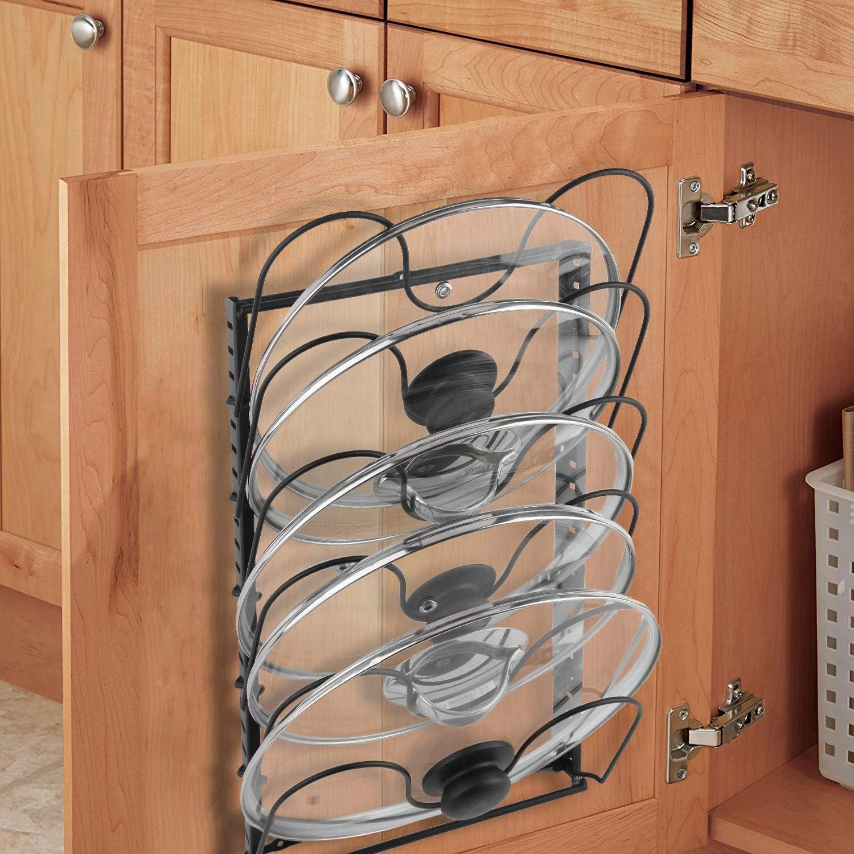 Amazon Com Pot Lid Organizer Rack For Kitchen Countertop Cabinet Door Wall Mount X Cosrack Carbon Steel Pot Cover Holder With 12 Dividers Adjustable Heights 4 Methods Black Kitchen Dining