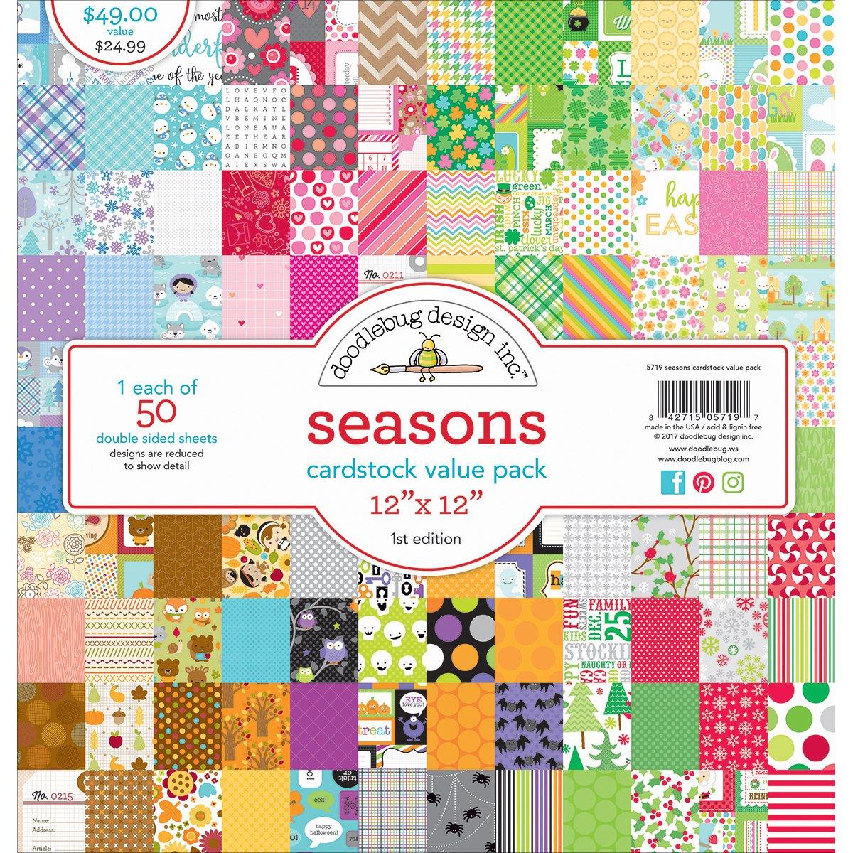 DOODLEBUG 5719 Value Kit Cardstock 12''X12'' 50/Pkg by DOODLEBUG