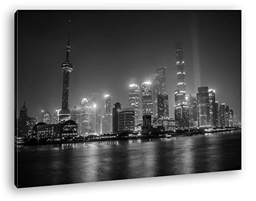 Impresionante Shanghai skyline Efecto: Negro/Blanco Como ...
