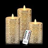 Antizer Flameless Candles 3 Pack Set Dripless Real Wax Glass Effect Include Realistic Flickering Flames and 10-key Remote Control with 24-hour Timer Function 400+ Hours By 2 AA Batteires (Mixed-Gold)