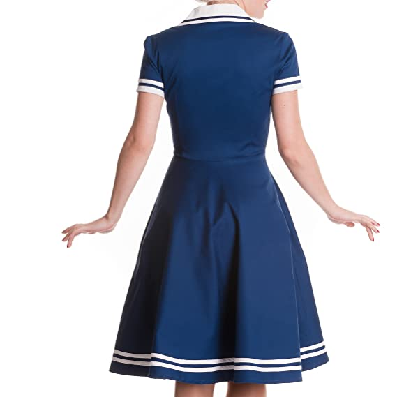 Hell Bunny - vestido rockabilly de marinera - años 50 - estilo pin up - rock and roll - largo hasta la rodilla - azul - XS: Amazon.es: Deportes y aire libre