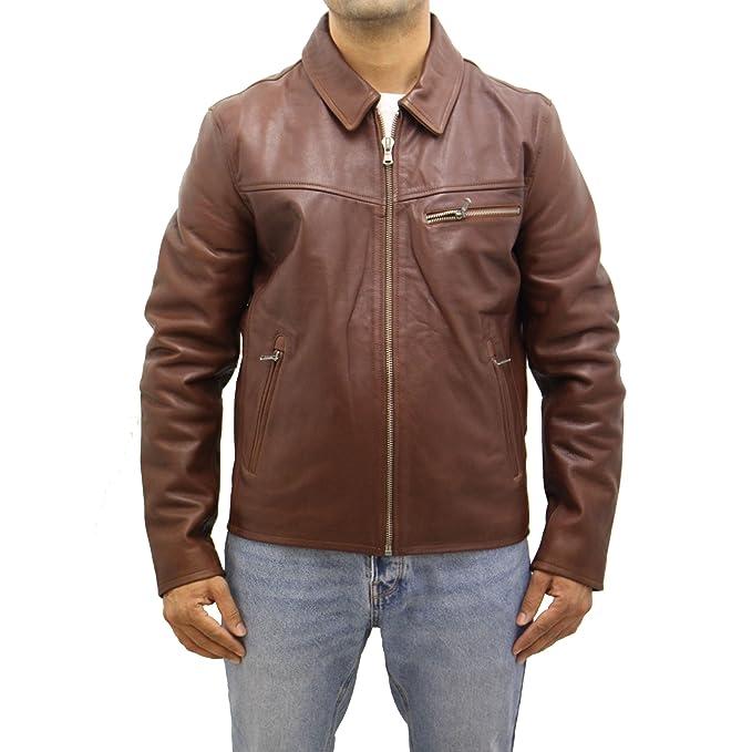 Para hombre de piel de cuero marrón clásico bombardero Harrington chaqueta delgada del ajuste: Amazon.es: Ropa y accesorios