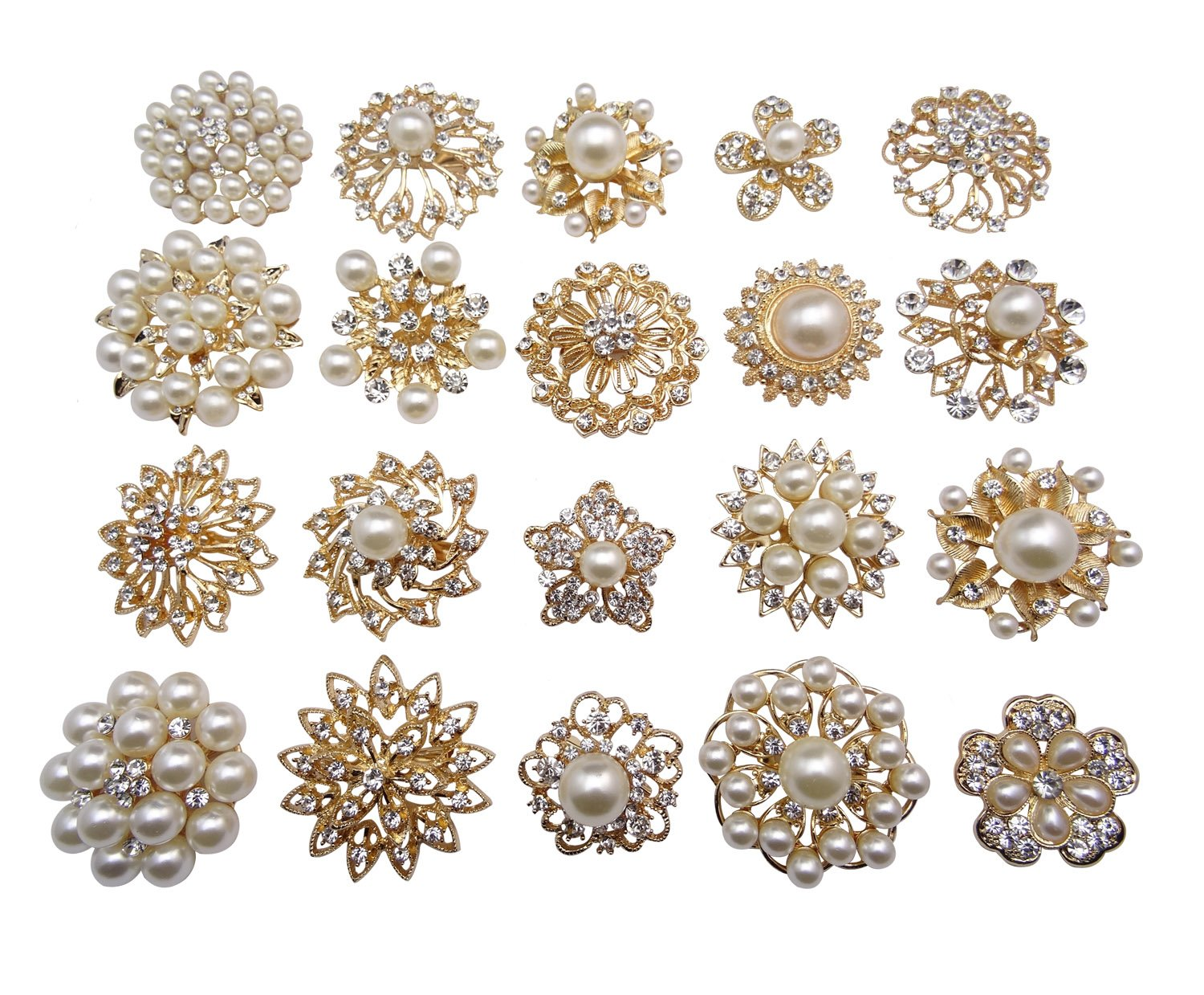 L'vow Gold Crystal Pearl Brooches Brooch Pins Wedding Corsage Bouquet Kit Pack of 12