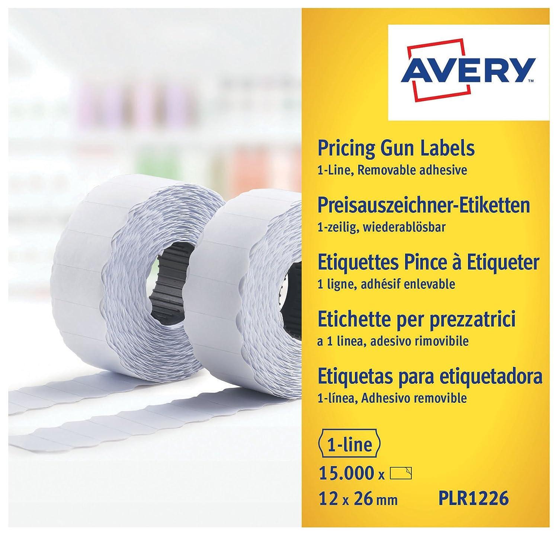 Avery PLR1226 Etichette per Prezzatrice 1 Linea Rimovibili, 1500 Pezzi per Rotolo