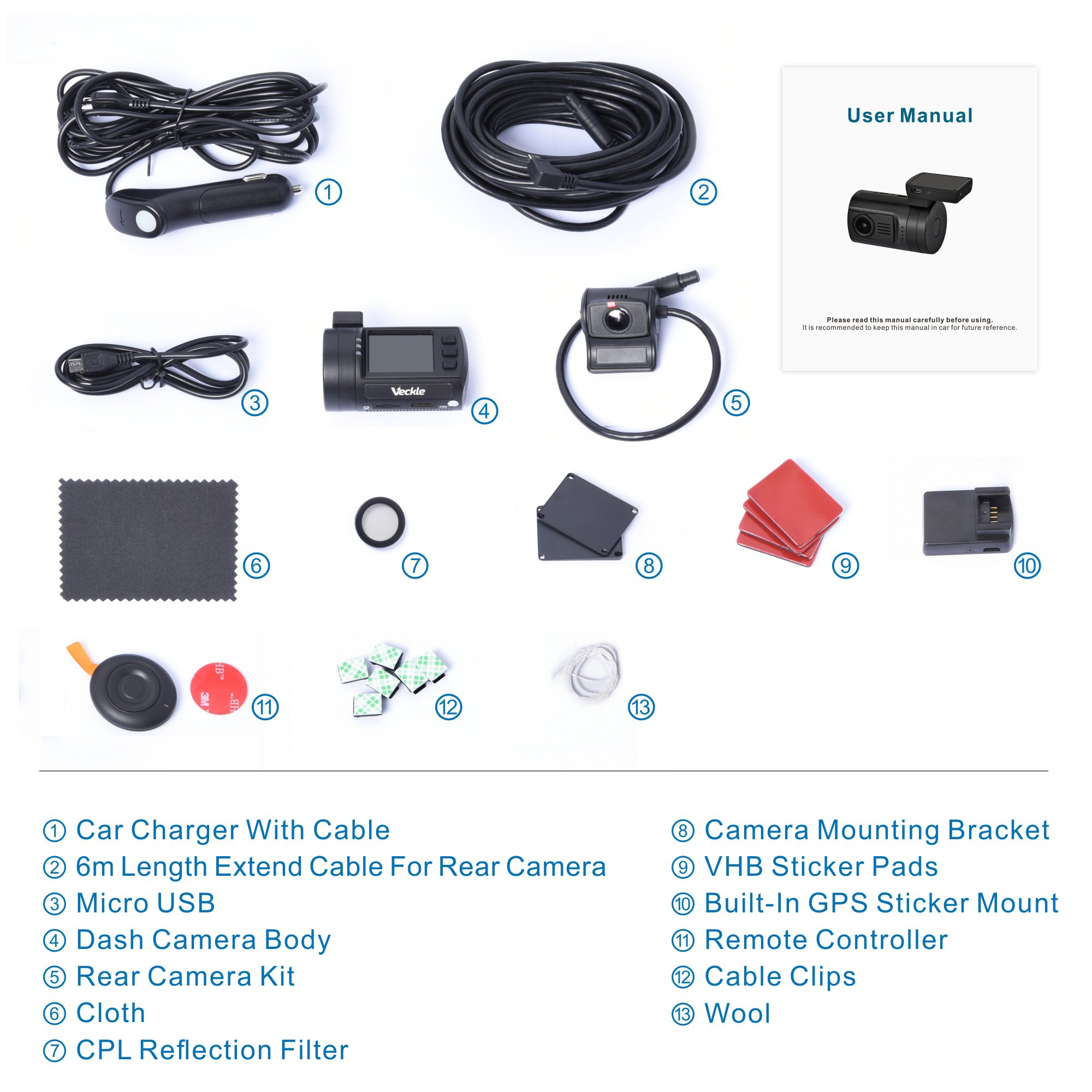 Dual Dash Cam, Veckle Mini 0906 Dual Channel 1080P FHD Dashboard Camera Recorder with GPS, CPL Filter, Sony Night Vision Exmor Sensor, 7 Lens Wide Angle 1.5 inch LCD, Loop Recording Dash Cam for Car by Veckle (Image #8)
