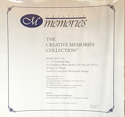 The Creative Memories Collection White Scrapbook Refill Pages 12 X