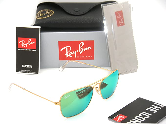 25633420ef Image Unavailable. Image not available for. Colour  Ray-Ban Caravan Matte  Gold Frame   Green Mirror RB 3136 112 19 58mm