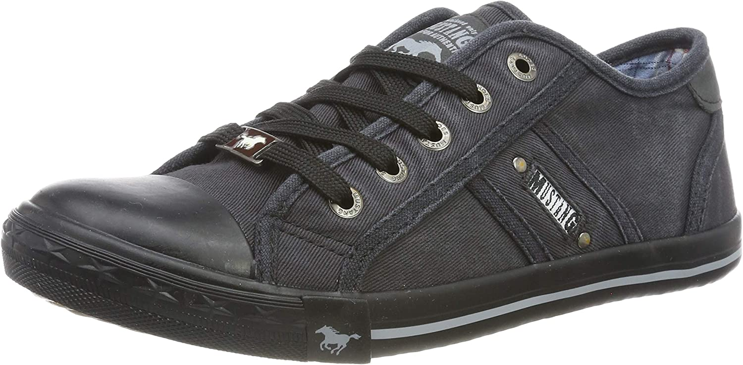 Mustang Black Casual Comfort Lace Up Canvas Trainers