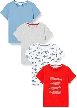 Marca Amazon - RED WAGON Camiseta con Mensaje con Cuello Redondo Niños, Pack de 4