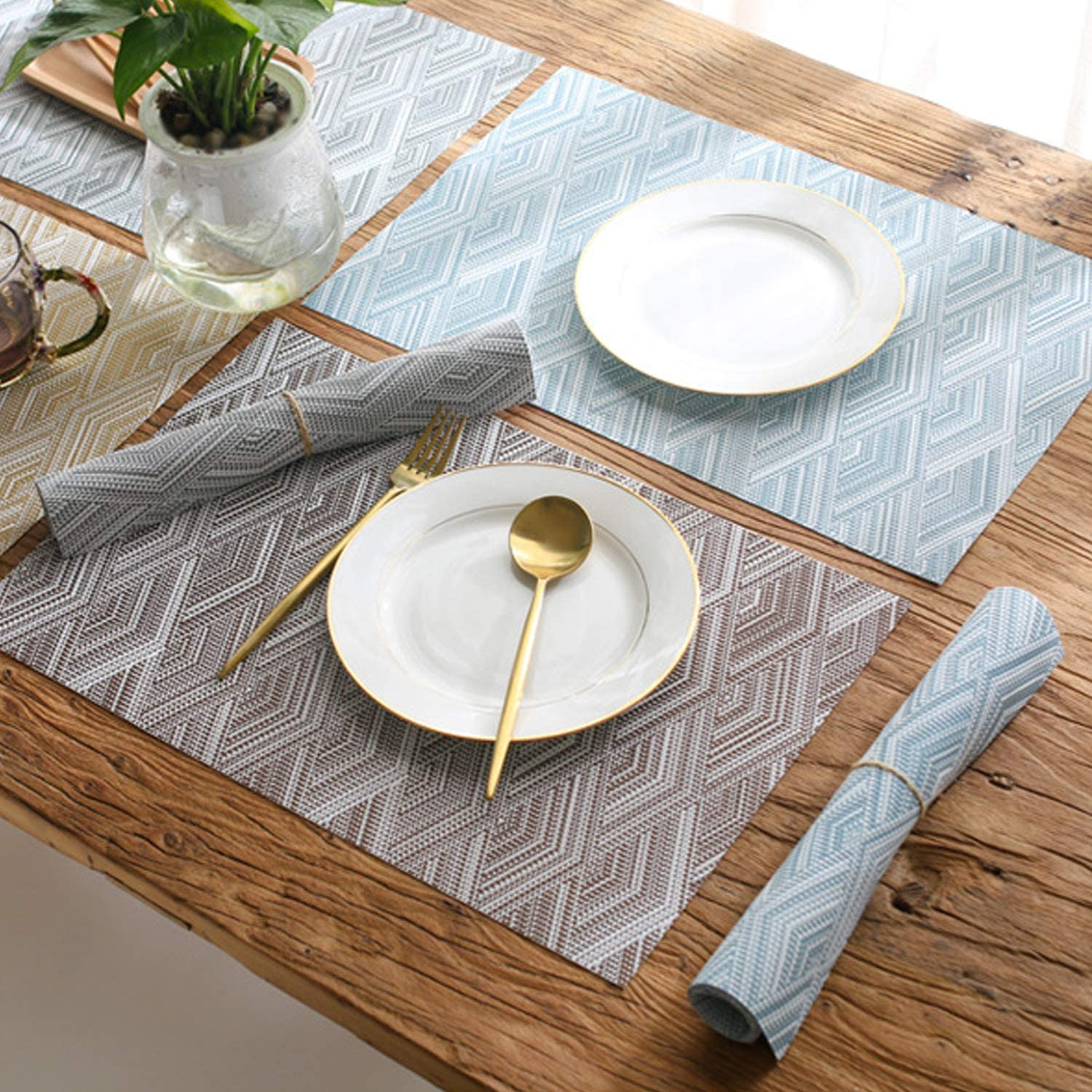 Fanciher 6PCS Placemats, 3D Wave Jacquard PVC Place mats Heat-Resistant Stain Resistant Anti-Skid Table Durable Cross Weave Mats for Dining Table (Blue): Home & Kitchen