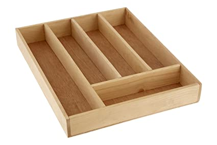 Premier Housewares 5 Compartment Cutlery Tray, 5 x 30 x 38 cm - Birchwood