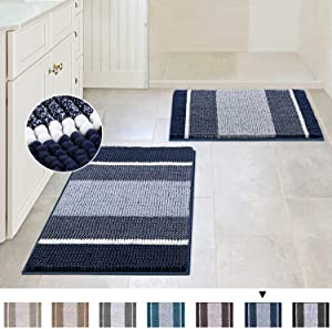 Extra Thick Chenille Striped Pattern Bath Rugs for Bathroom Non Slip - Soft Plush Shaggy Bath Mats for Bathroom Floor, Indoor Mats Rugs for Entryway (Navy, 32 x 20 Plus 24 x 17 - Inches)
