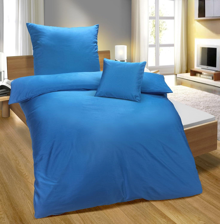 Biberna 0065600 Baumwoll-Satin Bettwäsche, 2x 80 80 80 x 80 cm + 200 x 200 cm, kornblau B01EWWNOW2 Bettwsche-Sets ed82b1