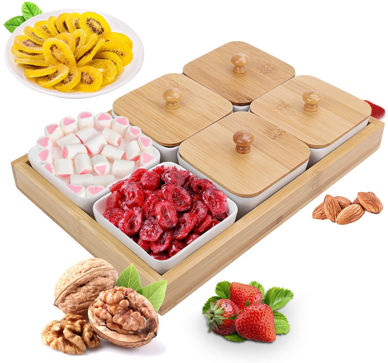 Ceramic Snack Serving Tray,6 Compartment Tray Serving Platter with Bamboo Lid and Wooden Pallets,Moisture-proof Bowls for Food,Snacks,Condiments, Appetizers