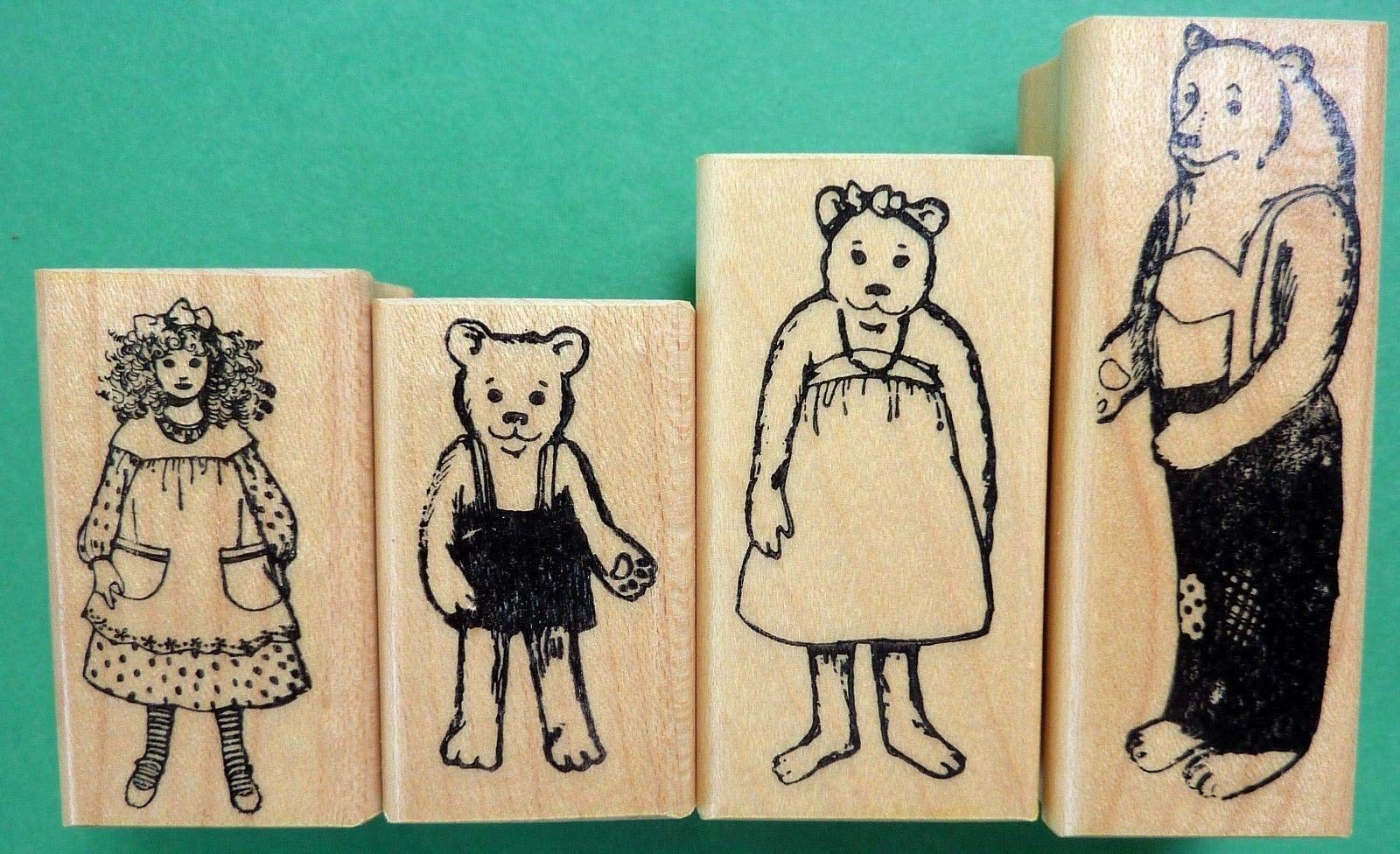 Goldilocks & The 3 Bears Wood Mounted Rubber Stamps Set
