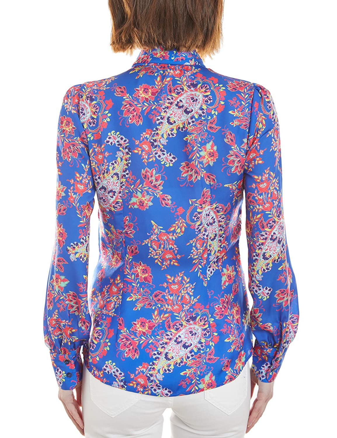 719c867491e6e HAWES   CURTIS Women s Blue   Red Paisley Fitted Shirt - Single Cuff - Pussy  Bow  Amazon.co.uk  Clothing