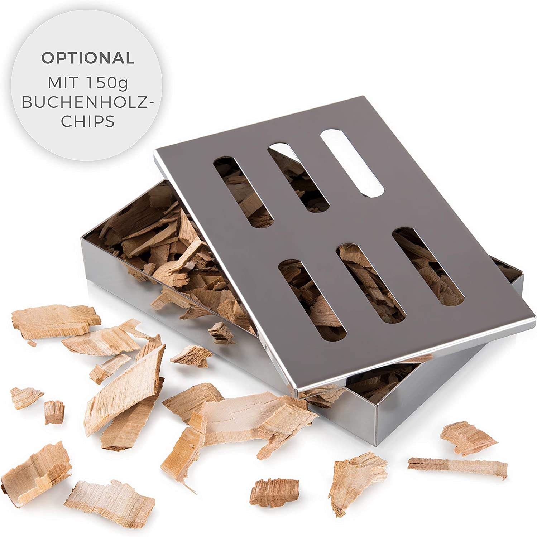 Blumtal Caja para Ahumar de Acero Inoxidable - Ahumador, Smoker Box para Barbacoas de Gas, Carbón y Leña | Apta Lavavajillas, Accesorios para Barbacoa