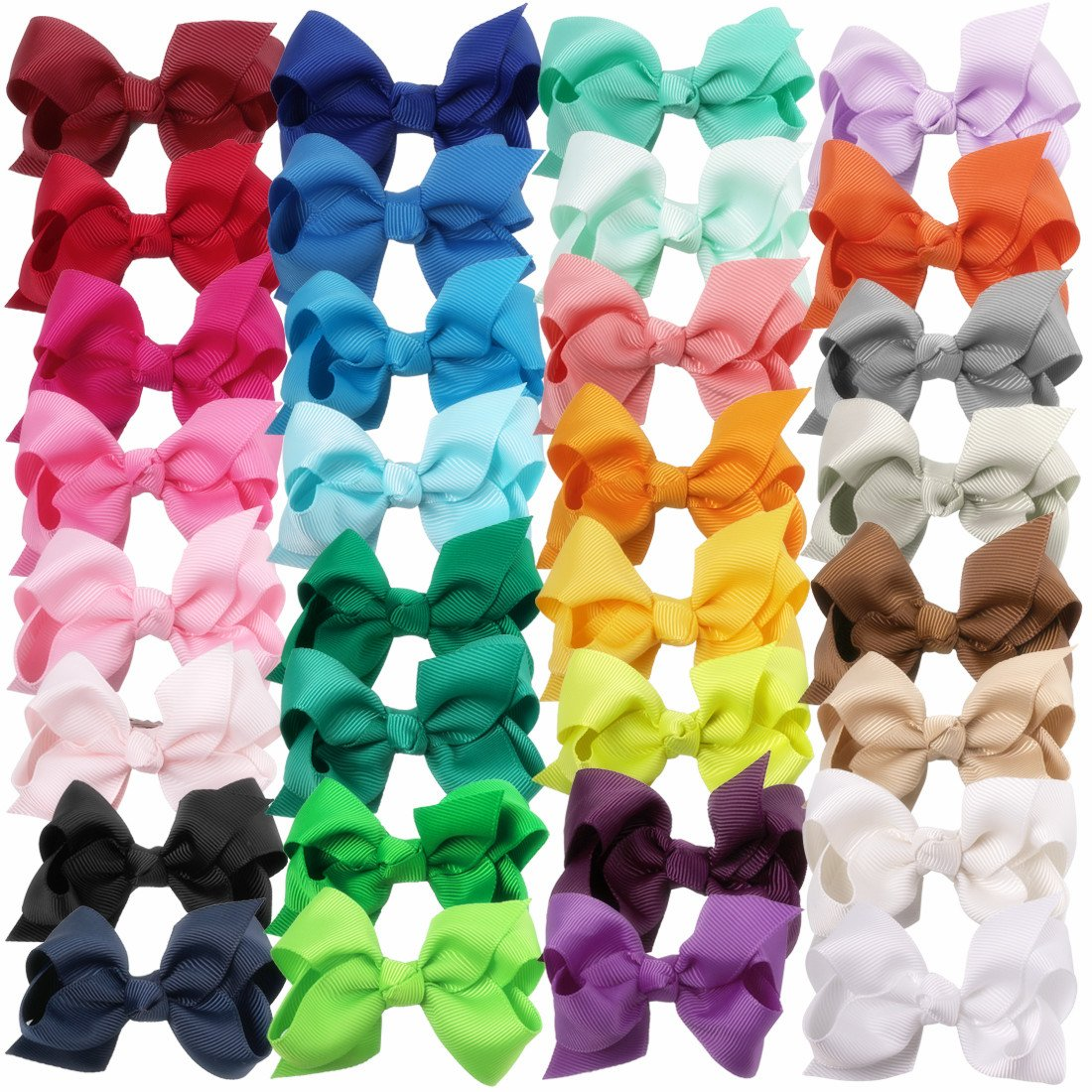 XIMA 3inch Hair Bows with Clip, Gorgain Ribbon Baby Knot Hairbow for Baby Girls Kids And Woman Pack of 32 (with alligator clip)