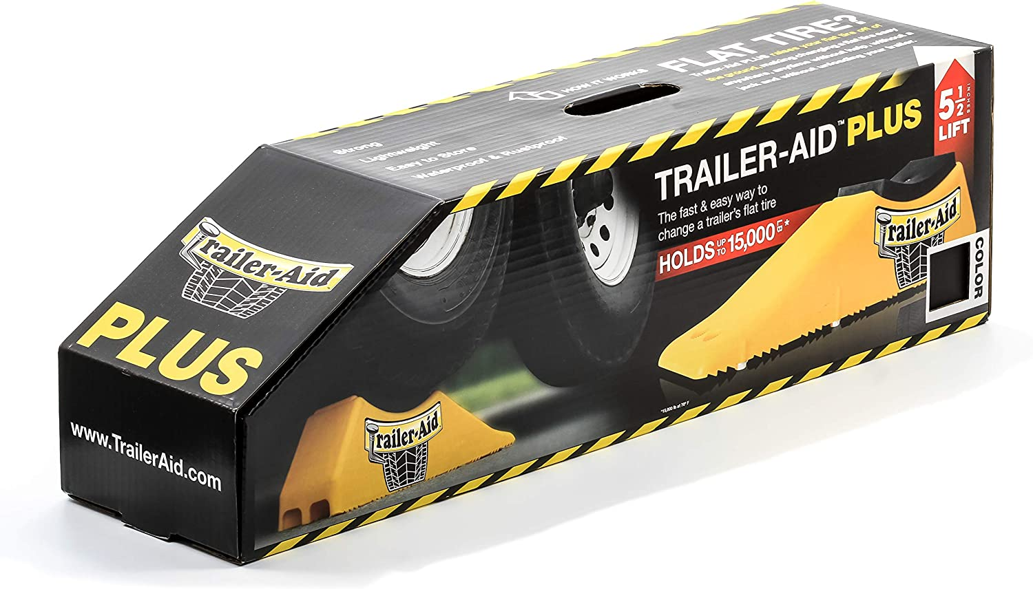 The Fast and Easy Way To Change A Trailers Flat Tire Yellow Trailer-Aid Tandem Tire Changing Ramp 4.5 Inch Lift Holds up to 15,000 lbs