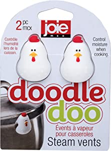 Joie MSC International Doodle Doo Steam Vents, Heat-Safe Silicone, Set of 2, White