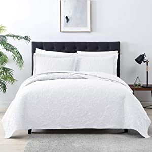 EXQ Home Quilt Set Full Queen Size White 3 Piece,Lightweight Microfiber Coverlet Modern Style Paisley Pattern Bedspread Set