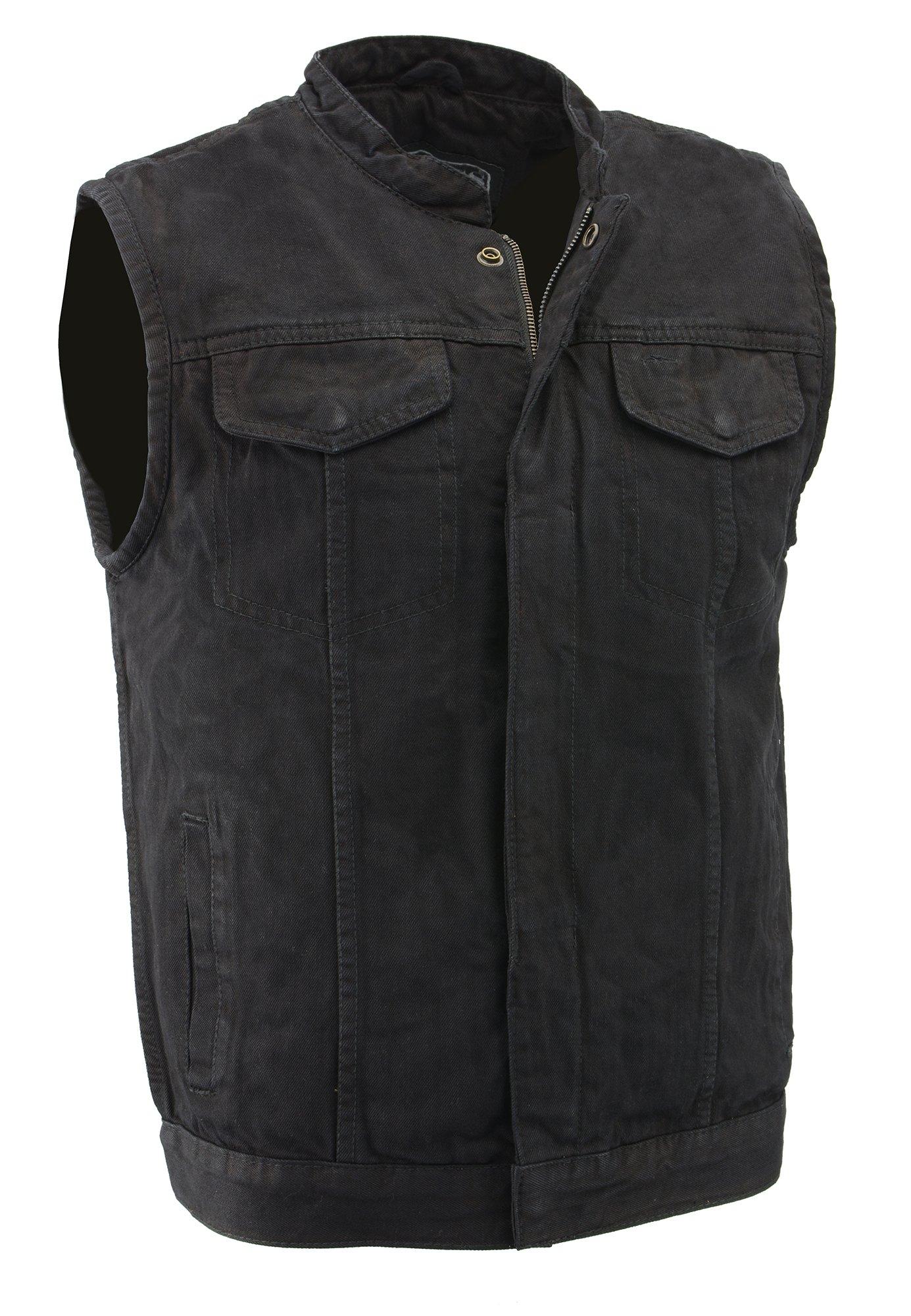 M-Boss Motorcycle Apparel-BOS13000-BLACK-Men's Denim Club Style Vest w/Hidden Zipper-BLACK-XL