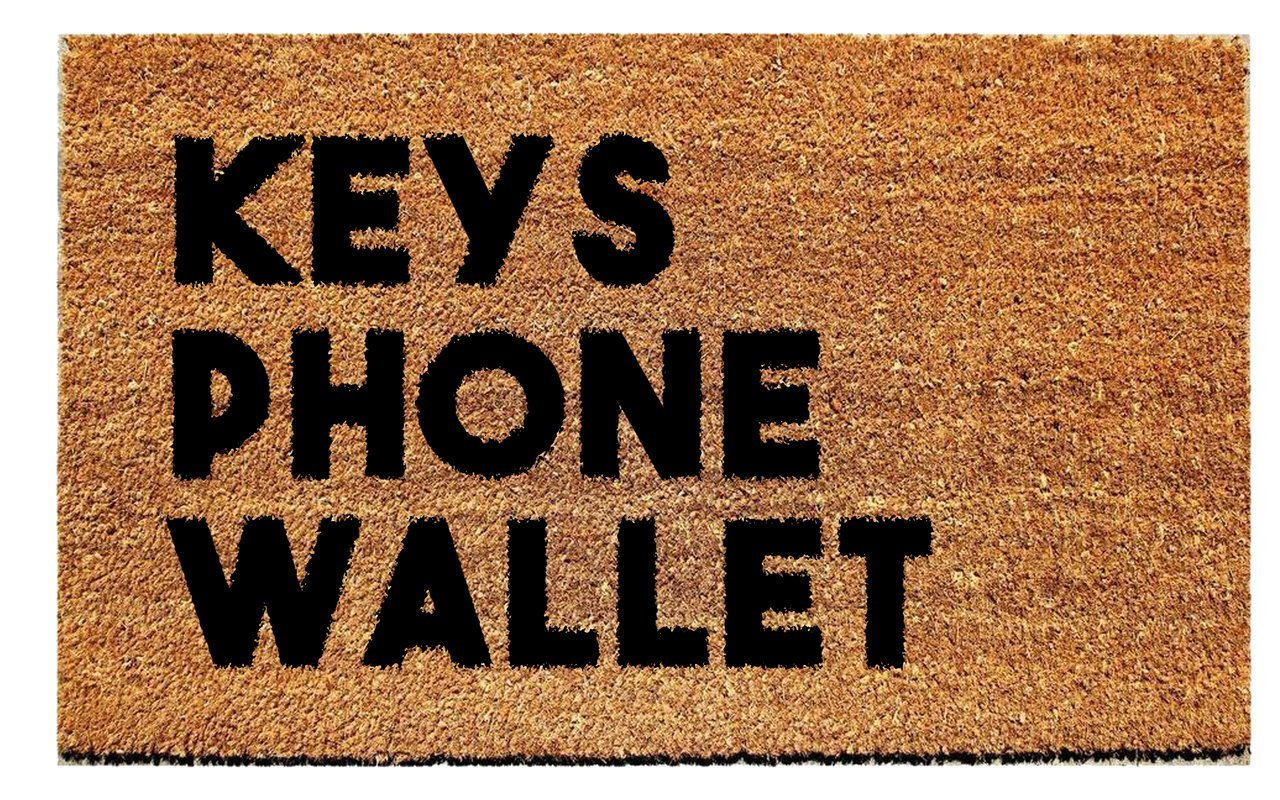 Urban Owl Home Keys Phone Wallet Doormat - Durable and Mold Resistant Coir Outdoor Welcome Mat with Heavy Duty PVC Backing, 18 inch x 30 inch, Natural Tan and Black