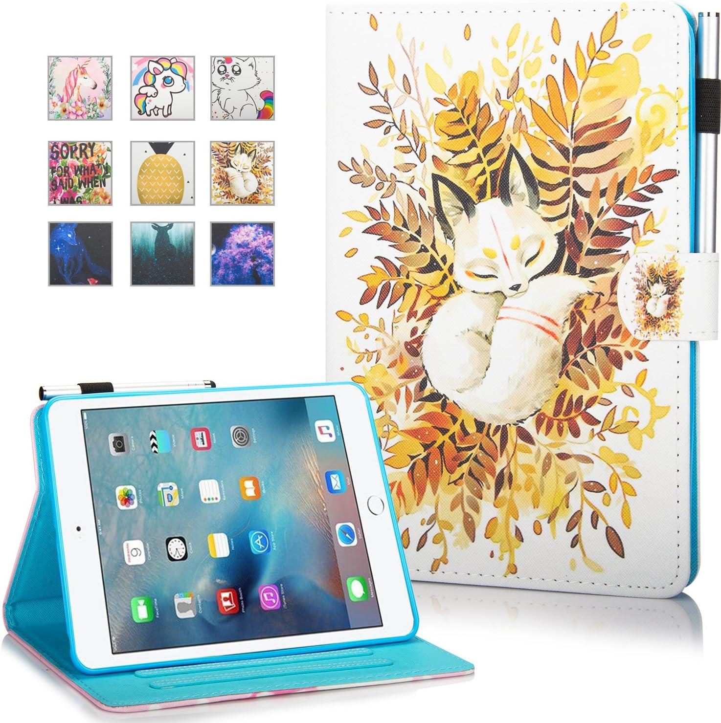 iPad Mini Case, Mini 2 3 4 Mini 5 Case Cover, MonsDirect Leather Smart Kickstand Case Flip Wallet Protective Case Compatible with Apple iPad Mini 1 2 3 4 Mini 5 2019, Baby Fox