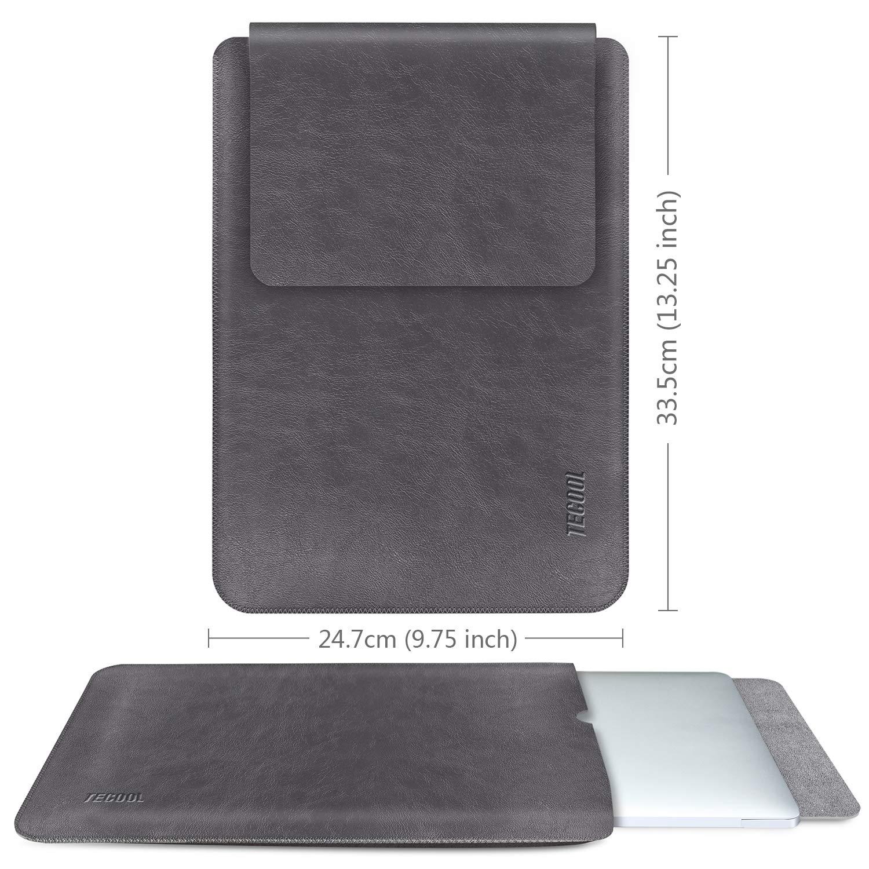 MacBook Pro 15 Touch Bar A1707 // A1990 Dell XPS 15 -Braun Laptop Sleeve wasserdichte Notebooktasche Kunstleder Schutzh/ülle f/ür MacBook Pro 15,4 Retina A1398 TECOOL Laptop H/ülle 15 Zoll Tasche