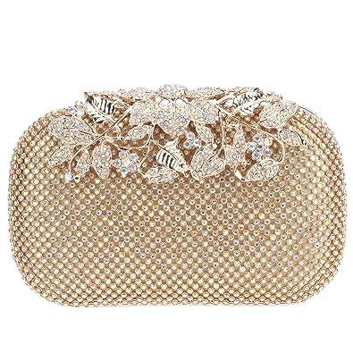 4cbb8de75 Fawziya Flower Purses With Rhinestones Crystal Evening Clutch Bags-AB Gold