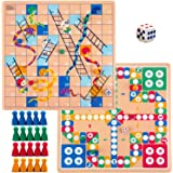 Toysery Ludo Board Game, 2 in 1 Snakes and Ladders Classic Family Travel Games, Light-Weight Reversible Board Dice Games Set
