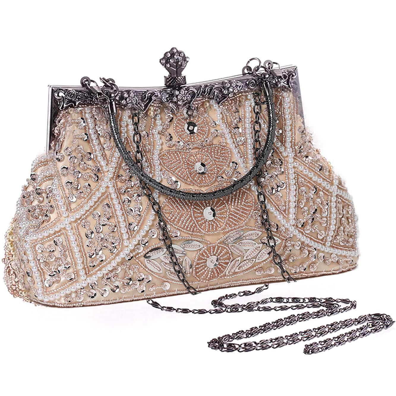 BABEYOND 1920s Flapper Clutch Gatsby Pearl Handbag Roaring 20s Evening Clutch Beaded Bag 1920s Gatsby Costume Accessories (Beige)