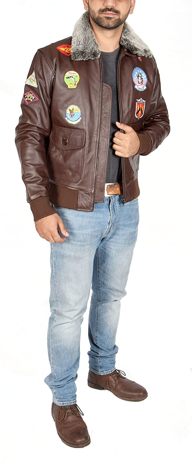 Mens Leather Air Force Pilot Top Gun Style Bomber Flying Jacket Hank Brown at Amazon Mens Clothing store: