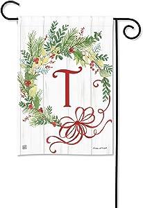 BreezeArt Studio M Winterberry Monogram T Garden Flag - Premium Quality, 12.5 x 18 Inches