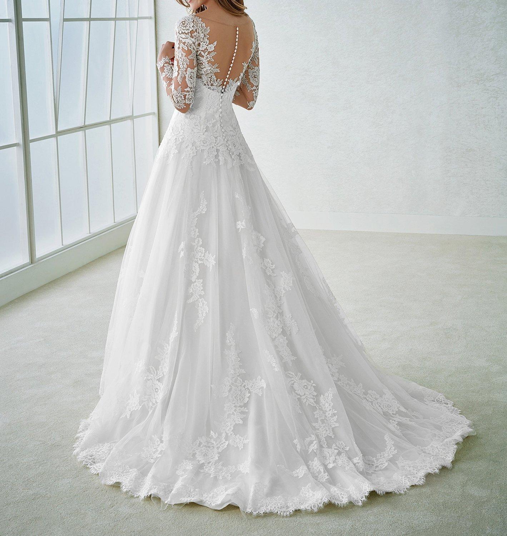 Zhongde Long Sleeve Vintage V Neck Back Buttons Elegant Lace Tulle Sheath Wedding Dress Bridal Gown for Bride
