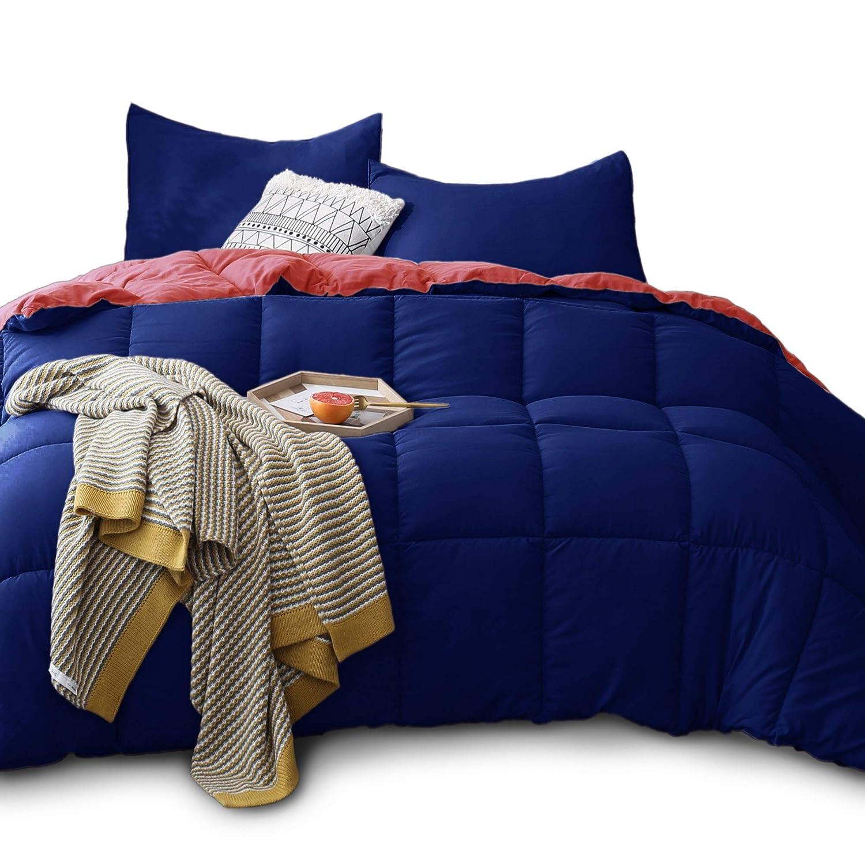 KASENTEX All Season Down Quilted Comforter - Hypoallergenic Duvet Insert - Machine Washable (Navy/Coral, King Set)