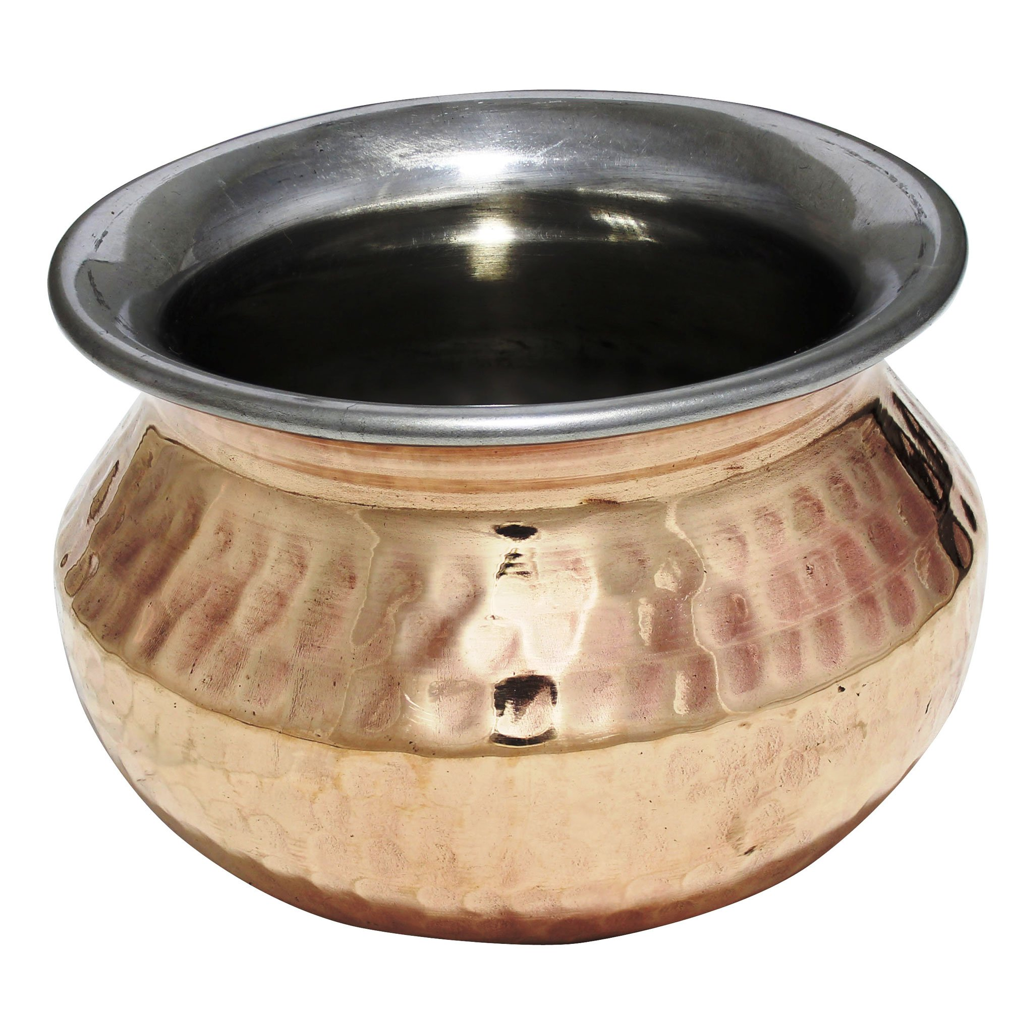 Gifts for Parents Day!! Serveware Handi Pot Copper Stainless Steel Serving Bowl Utensils - Indian Serveware and Tableware Accessories