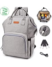 Large Capacity Diaper Backpack Diaper Bag with USB Charging Port, Multi-Function Travel Backpack Baby Nursing Bag for Mommy/Pregnant Woman, Waterproof Baby Nappy Bag with Anti-Theft Pocket - Include 2 Stroller Straps (Grey)