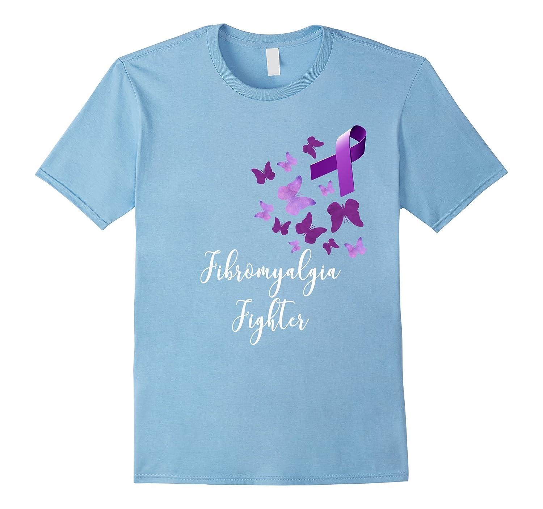 Fibromyalgia Awareness Warrior T-shirt Purple Butterflies-CD
