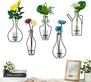 Nuptio Set of 5 Creative Desktop Planter Set with Glass Cup Vases Iron Metal Stand for Water Planting Flower Arrangement Decoration Gift for Home Wedding Centerpieces Décor (5 Pcs)