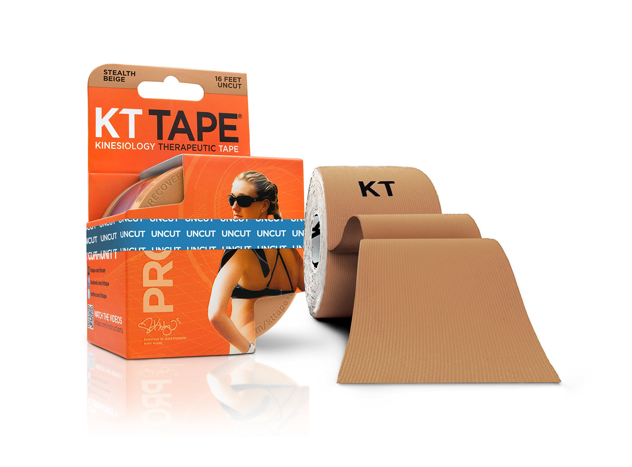 KT Tape PRO Synthetic Elastic Kinesiology Therapeutic Tape, 16.6 Foot Uncut Roll, Beige
