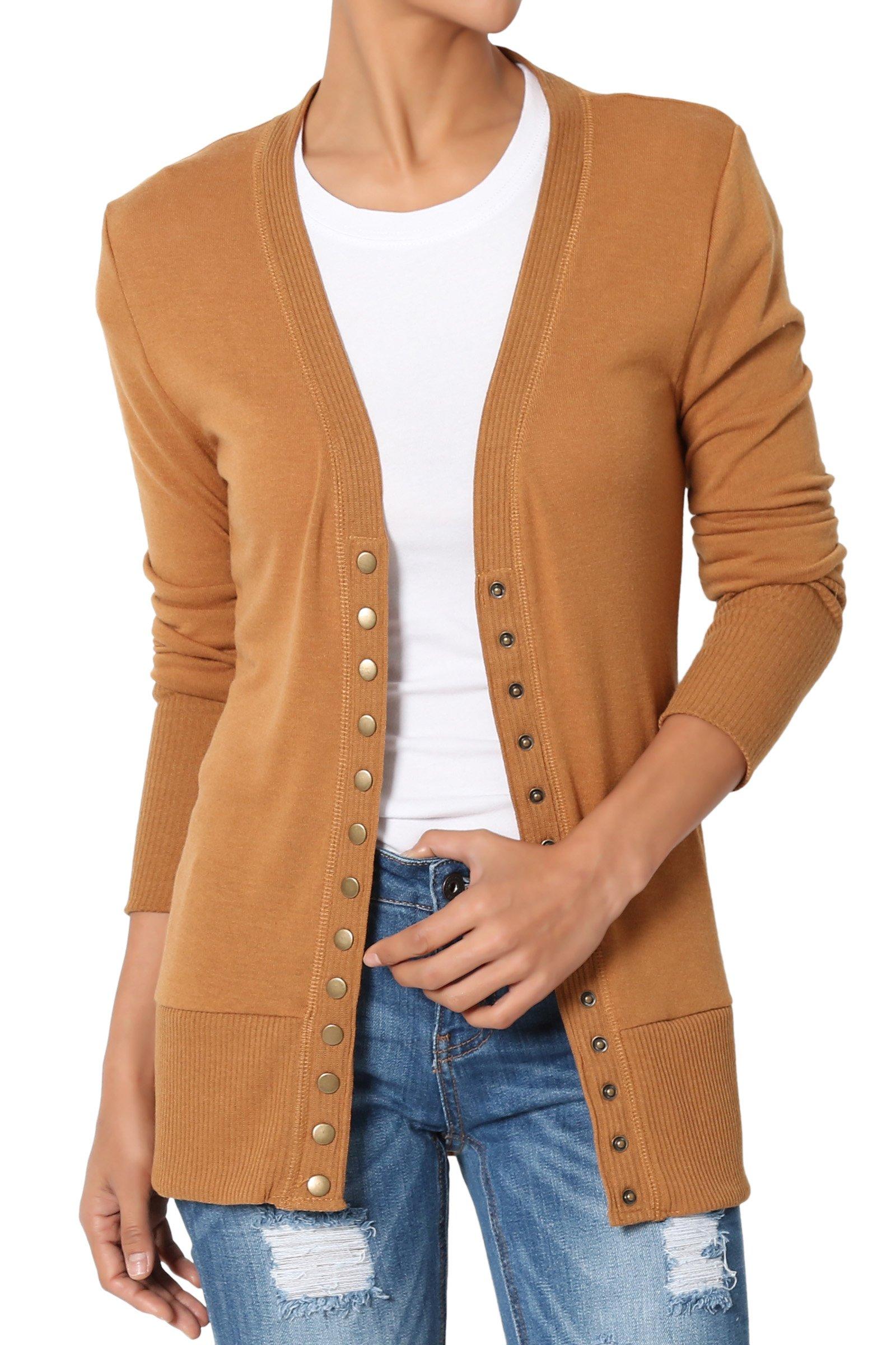 TheMogan Women's Snap Button V-Neck Long Sleeve Knit Cardigan Coffee L