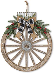 Orchid & Ivy 18-Inch Rustic Wood and Metal Holiday Wagon Wheel Ornament Front Door Wreath with Pine and Bow Accents - Country Christmas Decoration - Farmhouse Winter Wall Decor