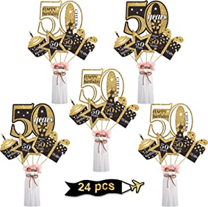 Blulu 50th Birthday Party Decoration Set Golden Birthday Party Centerpiece Sticks Glitter Table Toppers Party Supplies, 24 Pack (50th Birthday)