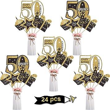 Amazon.com: Juego de decoración para fiesta de 50 cumpleaños ...