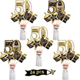 Blulu 50th Birthday Party Decoration Set Golden Birthday Party Centerpiece Sticks Glitter Table Toppers Party Supplies…