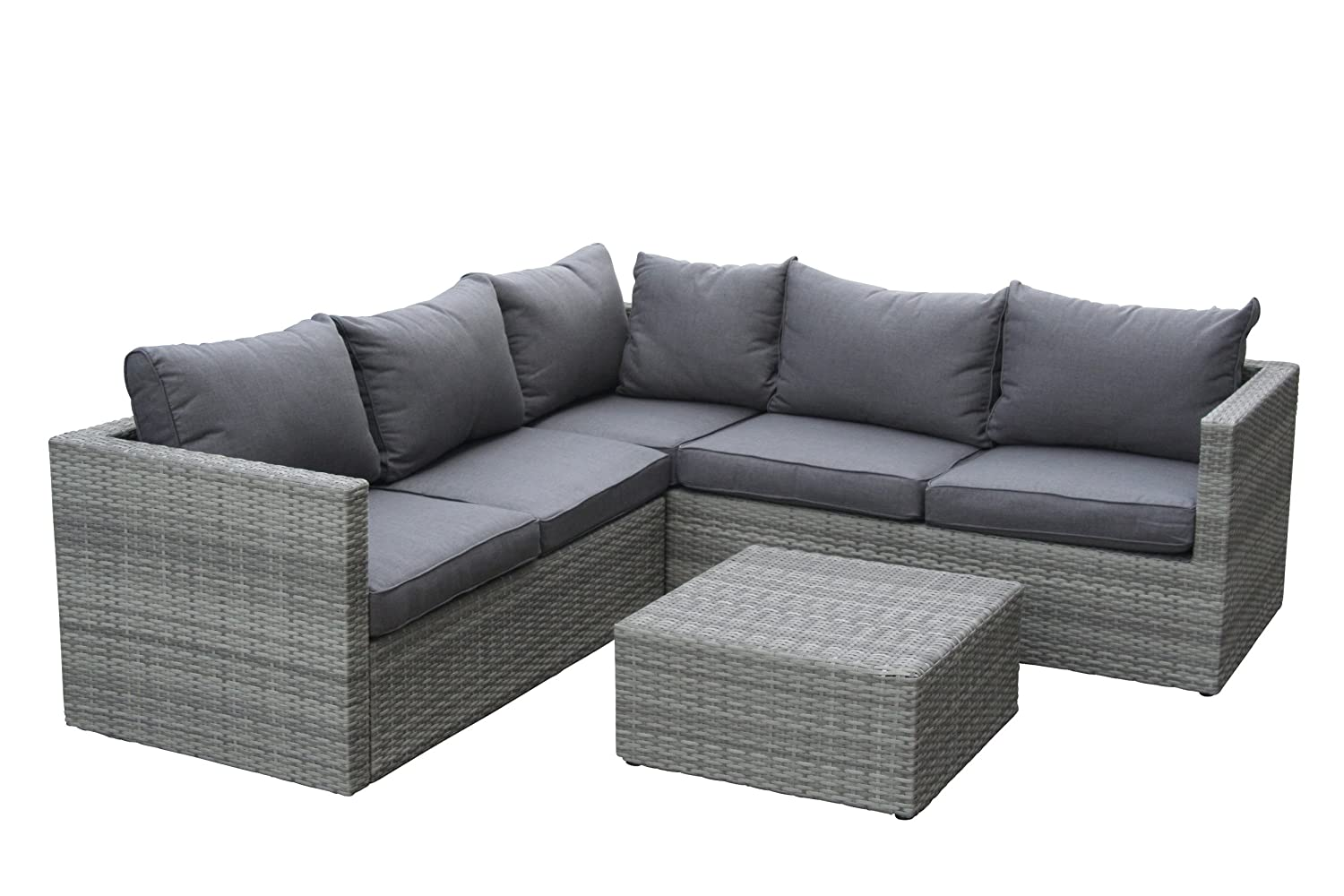 Poly rattan sofa lounge set malta grau gartenm bel set for Sofa terrasse