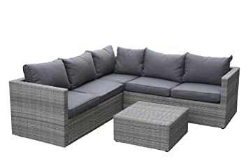 Gartenmöbel set rattan grau  Amazon.de: Poly Rattan Sofa Lounge Set