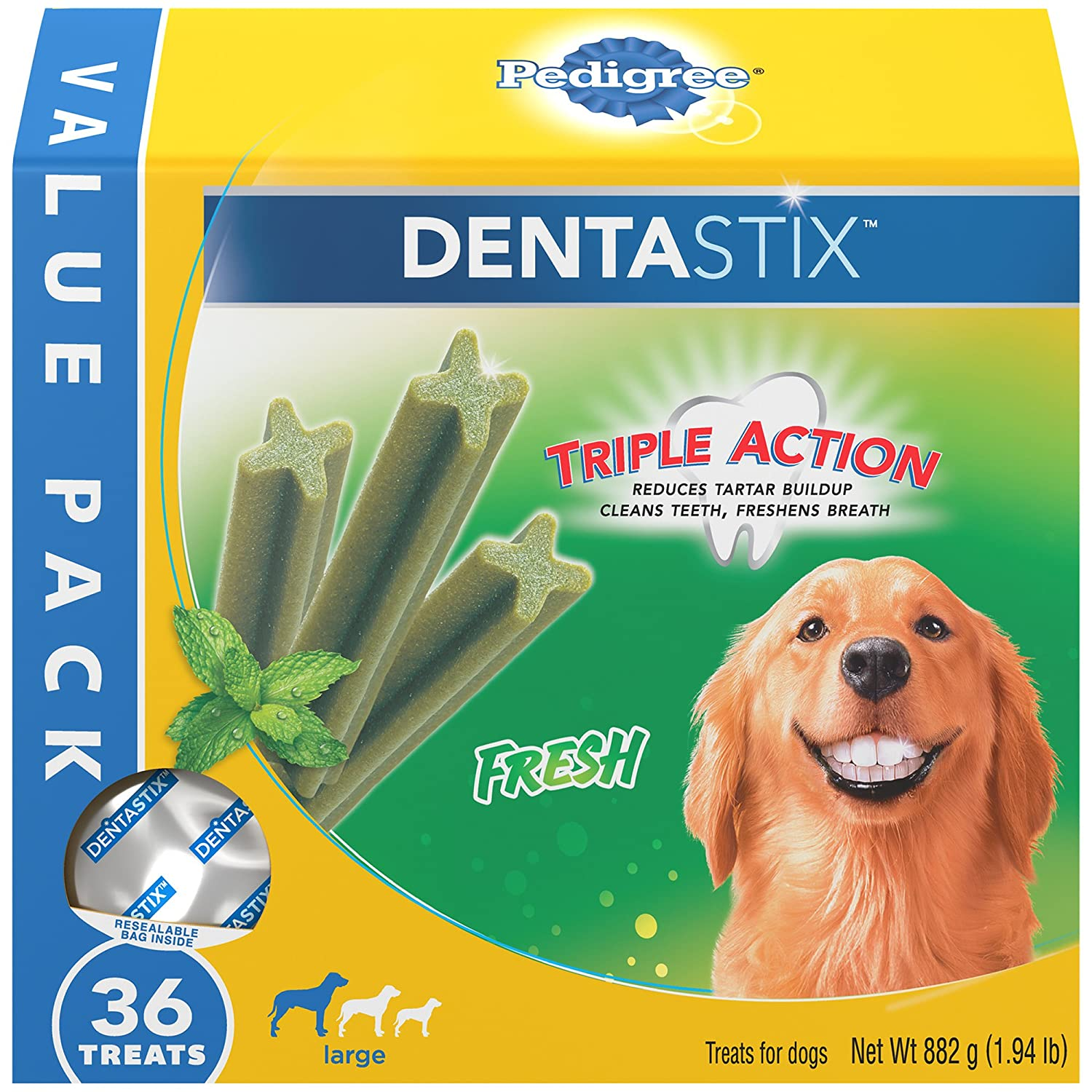 1.94 lbs. (Pack of 4) Pedigree DENTASTIX Fresh Large Treats for Dogs 1.94 Pounds 36 Treats (Pack of 4)